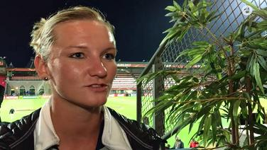Die deutsche Nationalspielerin Alexandra Popp im ARD-Interview. © Screenshot